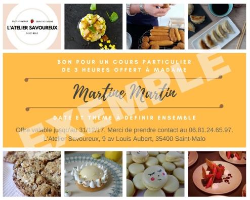 Bon cadeau l'atelier savoureux cours de cuisine saint-malo